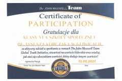 12.05.2021 Gratulacje dla Klasy VI A SZKOŁY SPOŁECZNEJ IM. JANUSZA KORCZAKA w Gliwicach - The John Maxwell Team.