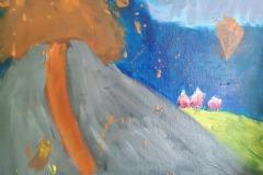 23.06.2021  ,,Pejzaż górski''- farby olejne Joanna Murga kl. II SP , ,,Wybuch wulkanu''- farby akrylowe na płótnie Iga Puzio kl. II SP. Koordynator p. Krawczyszyn